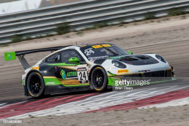The Porsche of Michael Christensen and Spencer Pumpelly races on the track during the Pirelli World Challenge GT race at Utah Motorsport Campus on...