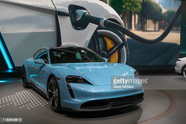 The Porsche Taycan 4S electric car is seen during its world premier at AutoMobility LA on November 20, 2019 in Los Angeles, California. The four-day...