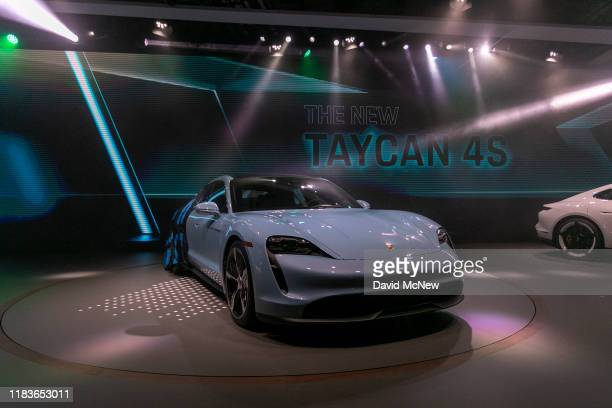 The Porsche Taycan 4S electric car is unveiled during its world premier at AutoMobility LA on November 20, 2019 in Los Angeles, California. The...