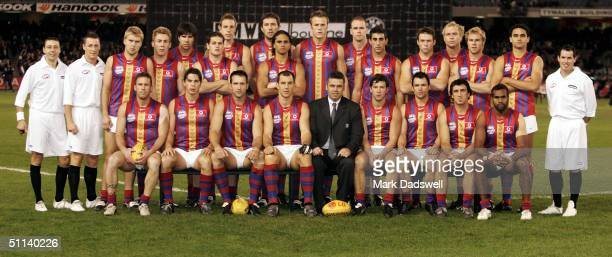The Port Adelaide Power wearing their Heritage round guernsey pose for a teamshot before the round 18 AFL match between the Essendon Bombers and the...