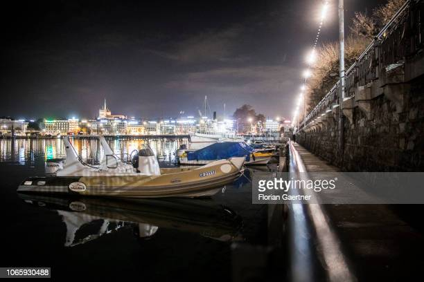 The port at the Lake Geneva is pictured in the evening on November 27 2018 in Geneva Switzerland