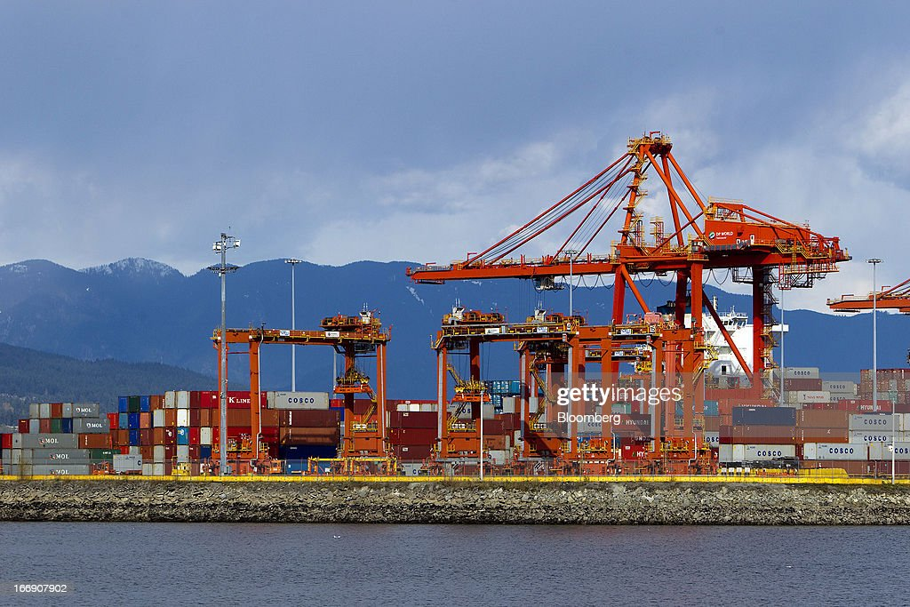 The Port Metro Vancouver terminal stands in Vancouver, British Columbia, Canada, on Tuesday, April 16, 2013. Port Metro Vancouver, Canada's largest and busiest port, is the principal authority for shipping and port-related land and sea use in the Metro Vancouver region. Photographer: Ben Nelms/Bloomberg via Getty Images