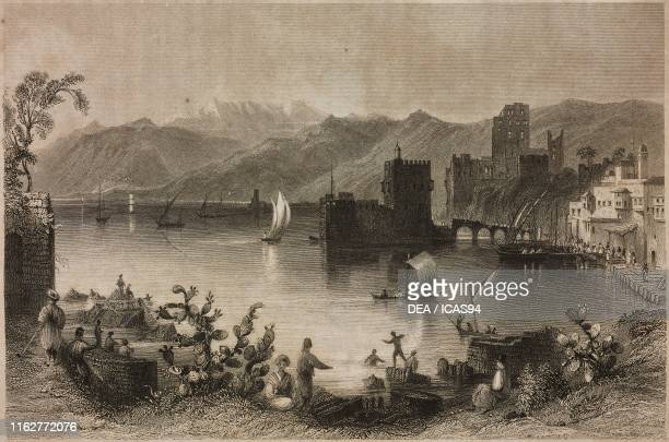The port of Beirut Lebanon engraving by J Appleton after a drawing by W H Bartlett from La Siria e l'Asia minore illustrate by Giorgio Briano Turin