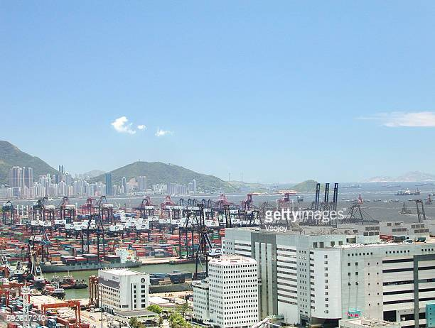 The Port of Hong Kong - Kwai Tsing Container Terminals Daytime