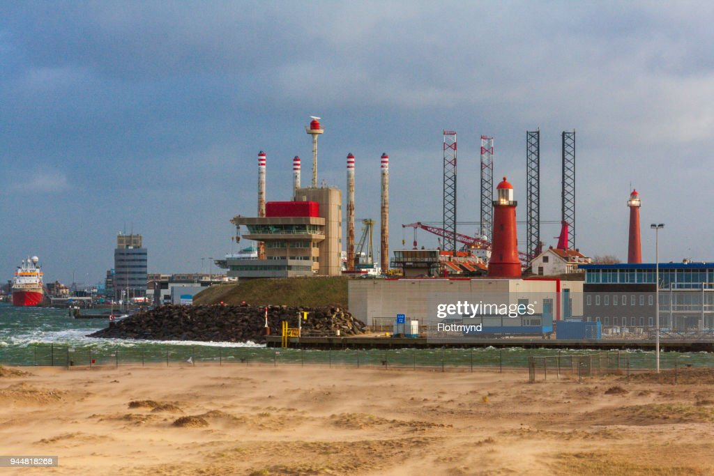 The Port of IJmuiden in the Netherlands : Stock Photo