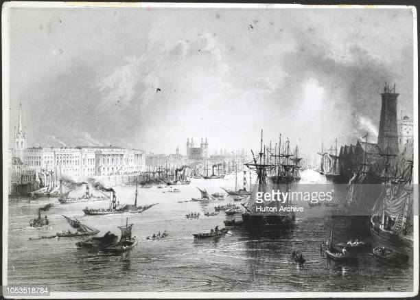 The Port of London on the River Thames in 1842 with steamships beginning to establish themselves London England H 61081