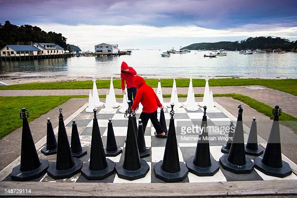 The port of Oban is the gateway from the South Island to Stewart Island. A gigantic chess board can be found on the boardwalk