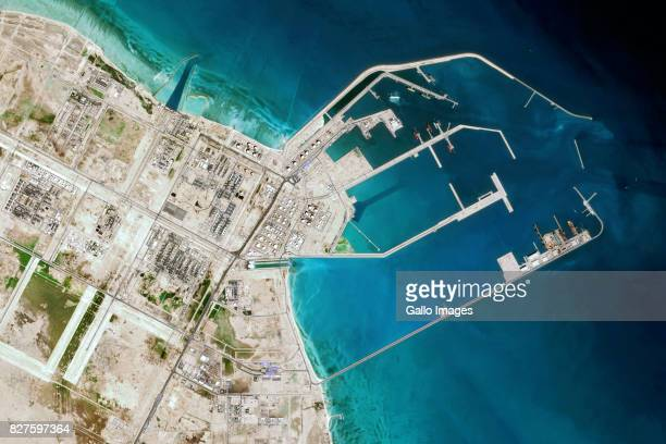 The port of Ras Laffan north of Doha Qatar which provides LNG gastoliquids and Helium to the world