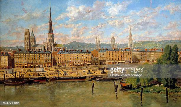 The Port of Rouen Painting by Torello Ancillotti 1878 036 x 062 m BeauxArts Museum Rouen France
