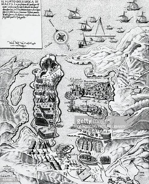 The port of the island of Malta engraving from 1565 16th century