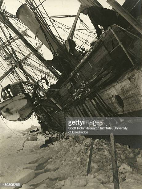The port side of the ship 'Endurance' 19th October 1915 shortly before she was crushed and sank during the Imperial TransAntarctic Expedition 191417...