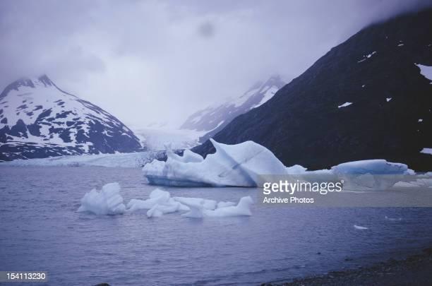 The Portage Glacier on the Kenai Peninsula of Alaska USA circa 1965