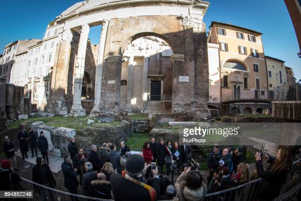 ROME ITALY DECEMBER 18 The Portico d' Ottavia was returned to the city of Rome The remains of the restored complex from which scaffolding was removed...