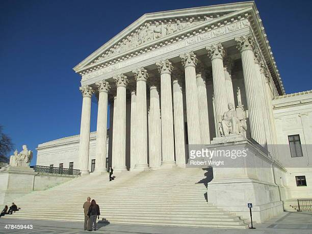 The portico of the United States Supreme Court building, designed by Cass Gilbert and opened in 1935, on Capitol Hill in Washington, DC.