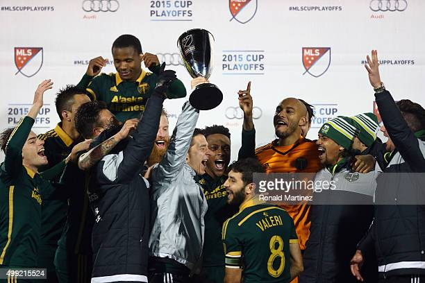 The Portland Timbers celebrate with the MLS Western Conference trophy after defeating FC Dallas in the Western Conference FinalsLeg 2 of the MLS...