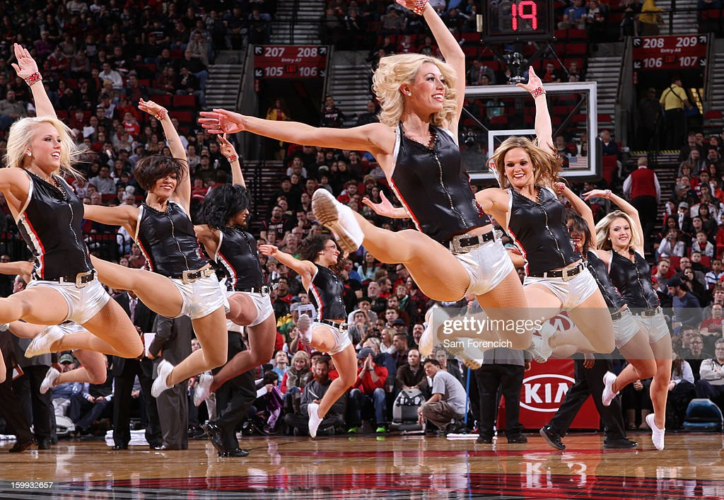 The Portland Trail Blazer dance team performs during halftime of the game against the Washington Wizards on January 21, 2013 at the Rose Garden Arena in Portland, Oregon.