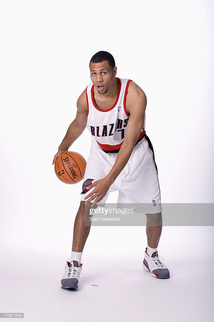 The Portland Trail Blazers 2006 NBA draft selection Brandon Roy poses for photos at the Rose Garden Arena in Portland, Oregon.