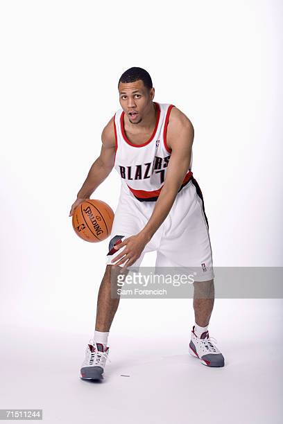 The Portland Trail Blazers 2006 NBA draft selection Brandon Roy poses for photos at the Rose Garden Arena in Portland Oregon NOTE TO USER User...