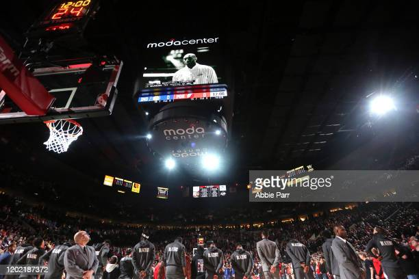 The Portland Trail Blazers and Indiana Pacers honor the passing of NBA legend Kobe Bryant prior to their their game at Moda Center on January 26 2020...