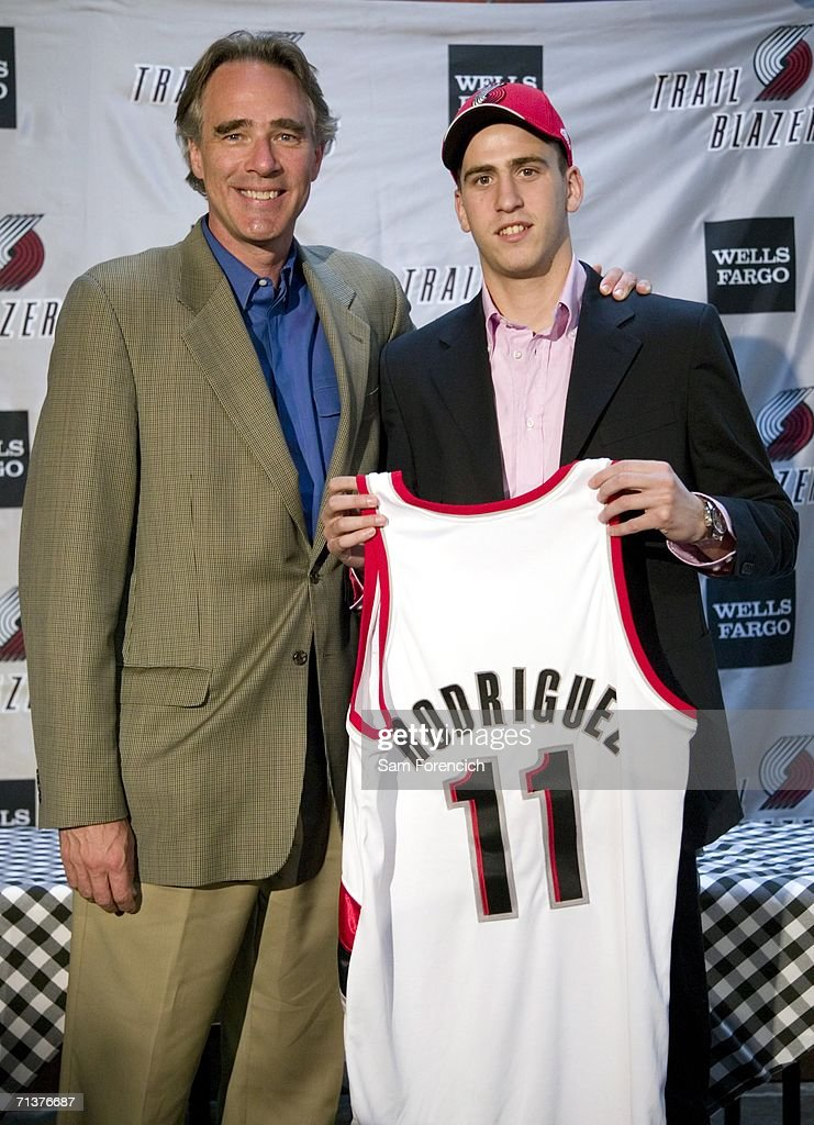 The Portland Trail Blazers and President Steve Patterson (L) introduce Sergio Rodriguez, the so-called 'Spanish Magician' during a downtown Portland press conference on July 5, 2006 in Portland, Oregon. Rodriguez, who played the last two seasons in Spain was the 27th pick in the 2006 NBA draft.