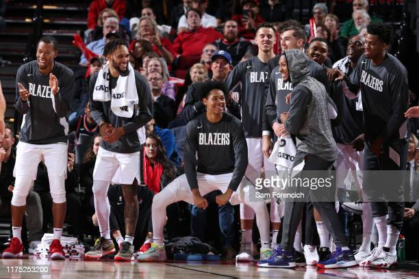 The Portland Trail Blazers bench reacts during a preseason game against the Maccabi Haifa on OCTOBER 10 2019 at the Moda Center Arena in Portland...
