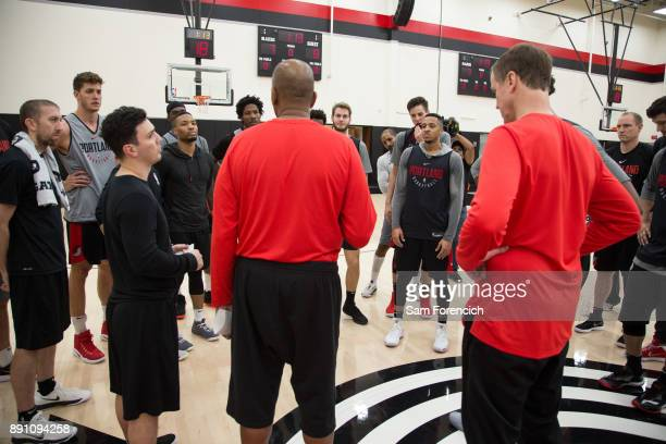 The Portland Trail Blazers huddle up during an all access practice on December 7 2017 at the Trail Blazer Practice Facility in Portland Oregon NOTE...