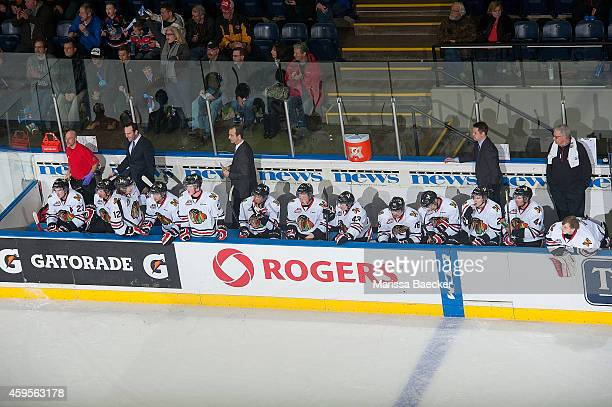 The Portland Winterhawks sit on the bench against the Kelowna Rockets on November 21 2014 at Prospera Place in Kelowna British Columbia Canada