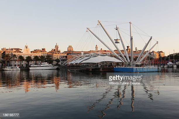 The Porto Antico and the Bigo by Renzo Piano on December 28 2011 in Genoa Italy Genoa is the capital of the region Liguria and has the largest...