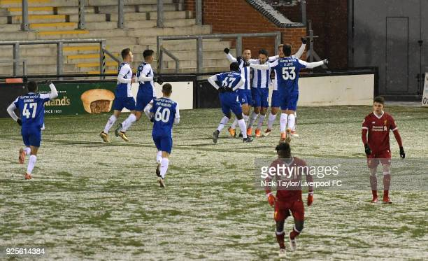 The Porto players celebrate a goal by Bruno Costa during the Liverpool v Porto Premier League International Cup game at Leigh Sports Village on...