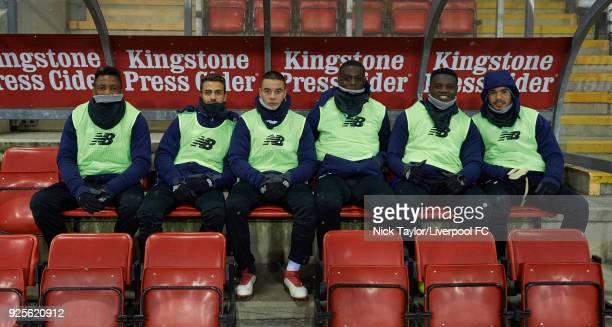 The Porto substitutes Diogo Costa Pedro Gomes Musa Yahaya Paulo Alves Joao Cardoso and Tony Djim pose for a photo before the Liverpool v Porto...