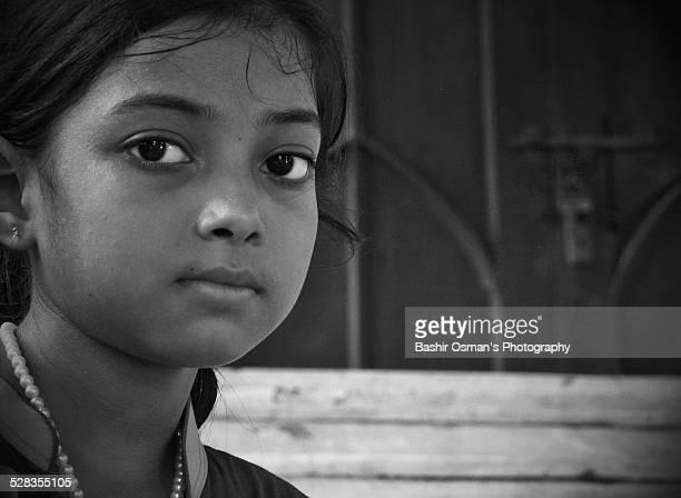 The portrait of a little Pakistani girl