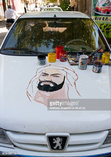 The portrait of Abbas Bin Ali on a Peugeot car for Ashura celebrations Lorestan Province Khorramabad Iran on October 11 2016 in Khorramabad Iran