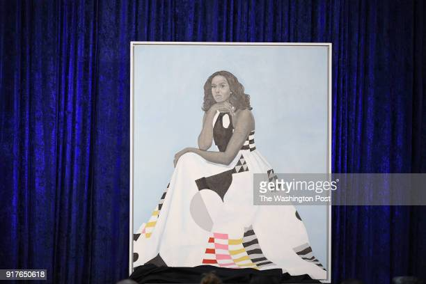 The portrait of former First Lady Michelle Obama is unveiled at the Smithsonian National Portrait Gallery on Monday February 12 2018 in Washington DC...