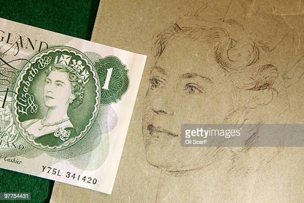 The portrait of Her Majesty The Queen Elizabeth II on an original one pound note issued on March 17 which was the first banknote to carry a portrait...