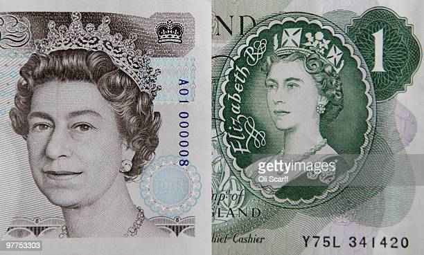 The portrait of Her Majesty The Queen Elizabeth II on the current five pound note is positioned next to an original one pound note issued on March 17...