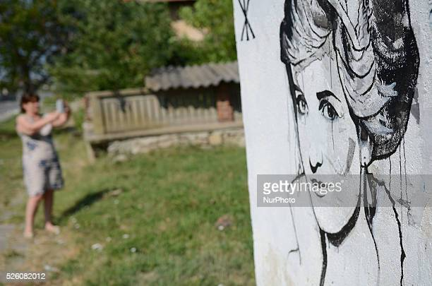 The portrait of Lady Diana in the village of Staro Jelezare Plovdiv Bulgaria On August 1 2015 All the world leaders are gathered in the village of...