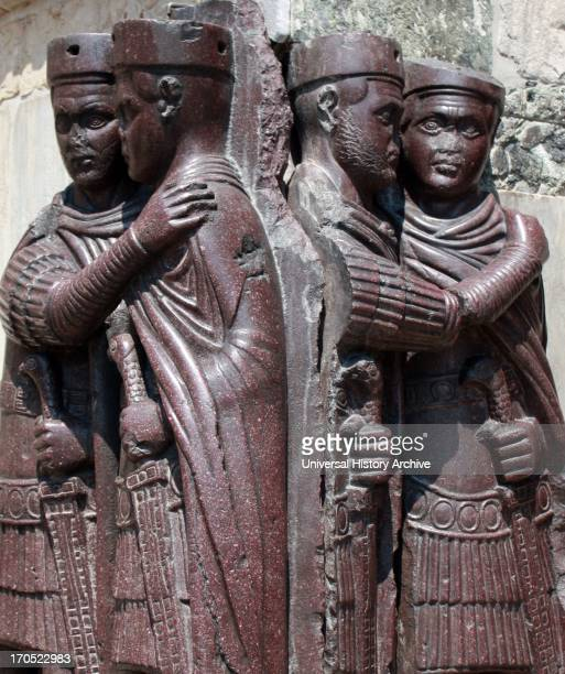 The Portrait of the Four Tetrarchs on the facade of San Marco in Venice Italy The Roman Empire was for a time after 293 ruled by a tetrarchy...