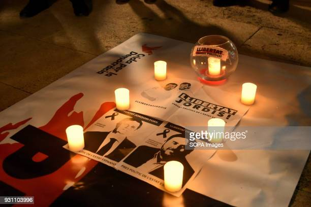 The portrait of the two political prisoners Jordi Cuxart and Jordi Sánchez seen during the protest Hundreds of people gathered in L'Hospitalet in...
