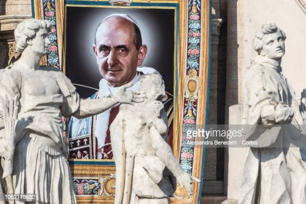 The Portrait Pope Paul VI is seen during the canonisation presided by Pope Francis of seven new Saints including Pope Paul VI and Archbishop Oscar...