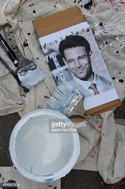 The portrait used by artist Levi Ponce for his Memorial Day mural project of murdered journalist Daniel Pearl, near his old neigborhood in Los...