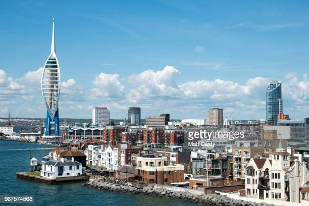 The Portsmouth skyline is viewed from the Brittany ferry from Portsmouth to Caen on June 3 2018 in Portsmouth England As the 74th anniversary of the...