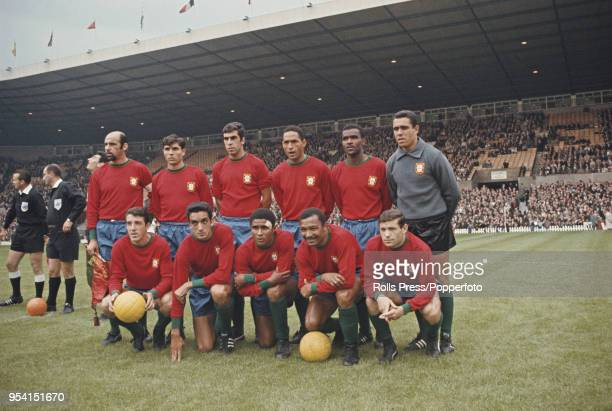 The Portugal national football team line up prior to playing in their group 3 match against Bulgaria in the 1966 FIFA World Cup at Old Trafford...