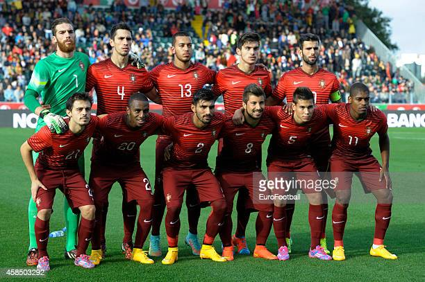 The Portugal players pose for a team photo before the UEFA U21 Championship second leg playoff between Portugal and Netherlands at the Mata Real...
