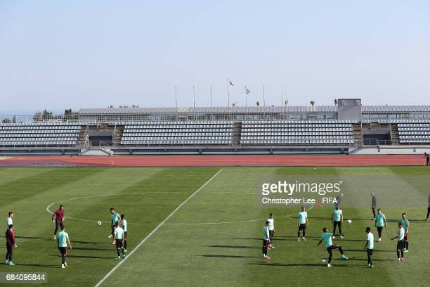 The Portugal team in action during the Portugal training Session at Kang Chang Hak Stadium on May 17 2017 in Jeju South Korea