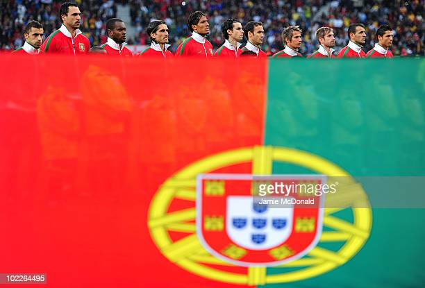 The Portugal team line up ahead of the 2010 FIFA World Cup South Africa Group G match between Portugal and North Korea at the Green Point Stadium on...