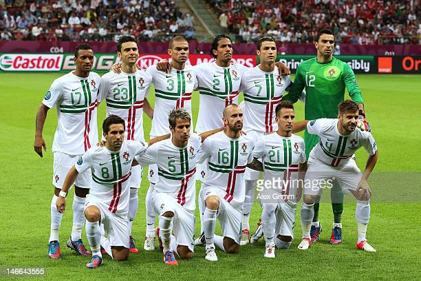The Portugal team line up ahead of the UEFA EURO 2012 quarter final match between Czech Republic and Portugal at The National Stadium on June 21 2012...