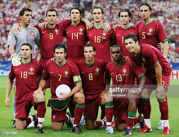 The Portugal team line up for a group photo prior to the FIFA World Cup Germany 2006 Quarter-final match between England and Portugal played at the...