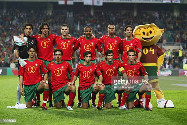The Portugal team line up for a group photograph before the International Friendly match between Portugal and England at the Faro-Loule Stadium on...