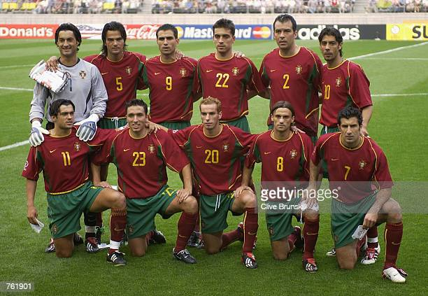 The Portugal team line up prior to the Portugal v USA Group D World Cup Group Stage match played at the Suwon World Cup Stadium Suwon South Korea on...
