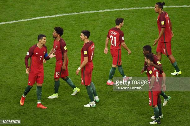 The Portugal team look dejected after the FIFA Confederations Cup Russia 2017 SemiFinal between Portugal and Chile at Kazan Arena on June 28 2017 in...